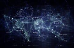 Internet del mapa de la conectividad del mundo de las cosas Foto de archivo libre de regalías