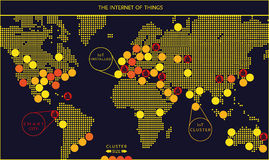 Internet del mapa del vector de las cosas Foto de archivo libre de regalías
