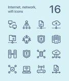 Internet del profilo, rete, icone di wifi per il web e pacchetto mobile 3 di progettazione Fotografia Stock