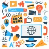 Internet del sistema del icono de las cosas stock de ilustración