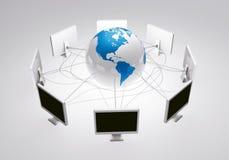 Internet del web conecta a gente en todo el mundo ilustración del vector