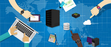 Internet della nuvola del router della base di dati di server di rete di intranet ha collegato la gestione di infrastruttura IT d illustrazione vettoriale