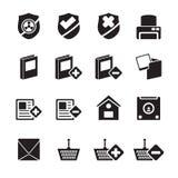 Internet della siluetta e bottoni ed icone del sito Web Fotografia Stock Libera da Diritti