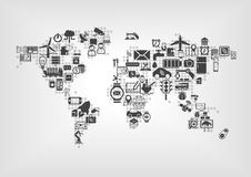 Internet des choses (IOT) et du concept global de connectivité Carte du monde des dispositifs intelligents reliés Image stock