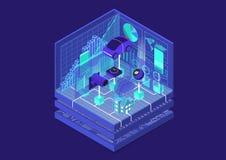 Internet des Konzeptes der Sachen/IOT mit verbundenem Auto und Geräten als isometrischer Vektorillustration stockfoto