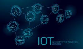 Internet des Sachenikoneninnovations-Technologiekonzeptes Kommunikationsnetz der intelligenten Stadt drahtlose IOT IuK Haus stock abbildung