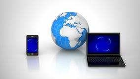 Internet Devices. Gray background, 2 in 1, loop, 3d render vector illustration