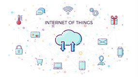 Internet di concetto delle cose Concetto della rete della nuvola per i dispositivi astuti collegati Illustrazione di vettore di I Fotografia Stock Libera da Diritti