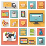 Internet die, elektronische handelconcept winkelen Geplaatste pictogrammen Stock Foto's