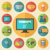 Internet die, elektronische handelconcept winkelen Vlak Ontwerp Stock Afbeeldingen