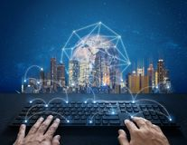 Free Internet, Digital Networking And Connection. Hand Typing Computer Keyboard And Global Network Connection And The City. Element Of Stock Image - 141617981