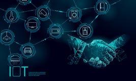 Internet do conceito do aperto de mão do trabalho do ícone das coisas TIC sem fio da rede de comunicação IOT da cidade esperta Ca ilustração royalty free