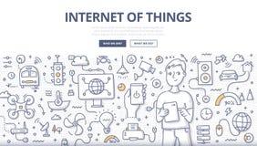 Internet do conceito da garatuja das coisas ilustração royalty free