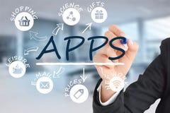Internet do conceito das coisas com ícones diferentes do app Fotografia de Stock Royalty Free
