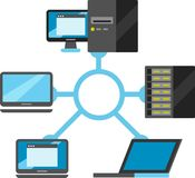 Internet do diagrama esquemático da conectividade das coisas imagens de stock