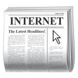 Internet do jornal Imagens de Stock