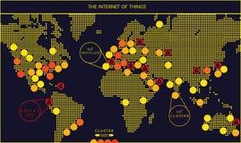 Internet do mapa do vetor das coisas Foto de Stock Royalty Free
