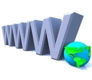 Internet do World Wide Web de WWW com globo - América Fotos de Stock Royalty Free