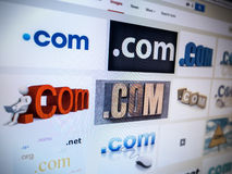 Internet Domain DotCom on a Computer Screen Royalty Free Stock Image