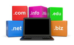 Internet Domain Names. Cubes Behind a Blank Screen Laptop Computer 3D Illustration on White Background Royalty Free Stock Photos