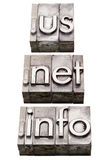 Internet domains - us, net, info Stock Photo