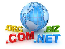 Internet-domein en blauwe wereldkaart Stock Foto's