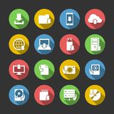 Internet Download Symbols Icons Set. Internet download symbols collection for computer and mobile electronic devices flat icons set in circles isolated vector Stock Photo