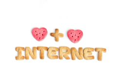 Internet e dois corações Imagens de Stock Royalty Free