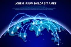 Internet e fondo globale del collegamento Concetto astratto dell'insegna della rete con il pianeta Terra blu astratta del mondo illustrazione vettoriale