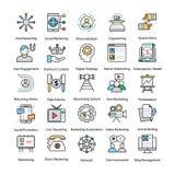 Internet e linea colorata icone di vendita di Digital illustrazione di stock