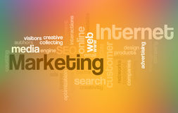 Internet e mercado - nuvem da palavra Imagens de Stock Royalty Free