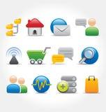 Internet e vetor dos ícones de uma comunicação Imagem de Stock