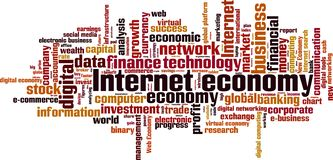 Internet economy word cloud. Concept. Vector illustration stock illustration