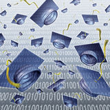 Internet Education. And learning with graduation caps thrown in the air on a digital binary code technology background as a modern business training concept for Stock Photos