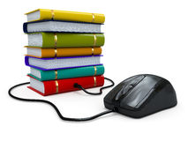 Internet education. Books and computer mouse. stock illustration