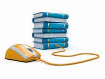 Internet education. Books and computer mouse. Stock Image