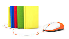 Internet education. Books and computer mouse. On a white background Stock Images