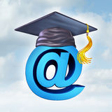 Internet Education. Concept as a three dimensional image of an ampersand wearing a graduation  mortar cap as a symbol of new online learning tools and computer Stock Photos