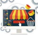 Internet-Einkaufskonzept Smartphone mit Markise Lizenzfreie Stockfotos