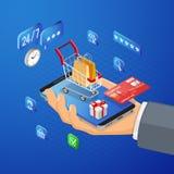 Internet-Einkaufsonline-zahlungs-isometrisches Konzept lizenzfreies stockfoto