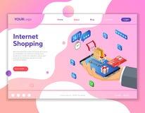 Internet-Einkaufsonline-zahlungs-isometrisches Konzept stockbild