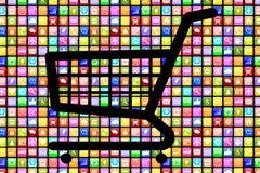 Internet em linha s do comércio eletrônico da ordem da compra de Apps App da aplicação Fotografia de Stock Royalty Free