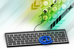 Internet email communication concept with a button on computer keyboard. In color background royalty free illustration