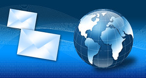 Internet email concept 3d. Globe with email and binary code Stock Photos