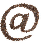 Internet email Mark Coffee Beans Royalty Free Stock Photos