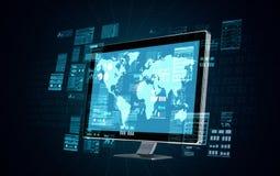 Internet en gegevens - verwerking Stock Foto