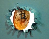 Internet en línea comercial digital del ordenador del blockchain del cryptocurrency de la brecha de Bitcoin fotografía de archivo
