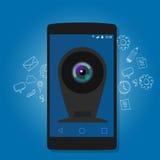 Internet en línea de la vigilancia de la seguridad del webcam de la cámara del teléfono móvil Imagen de archivo libre de regalías
