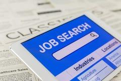Internet en línea para la búsqueda de trabajo Foto de archivo libre de regalías