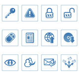 Internet en pictogram I van de Veiligheid Stock Foto's